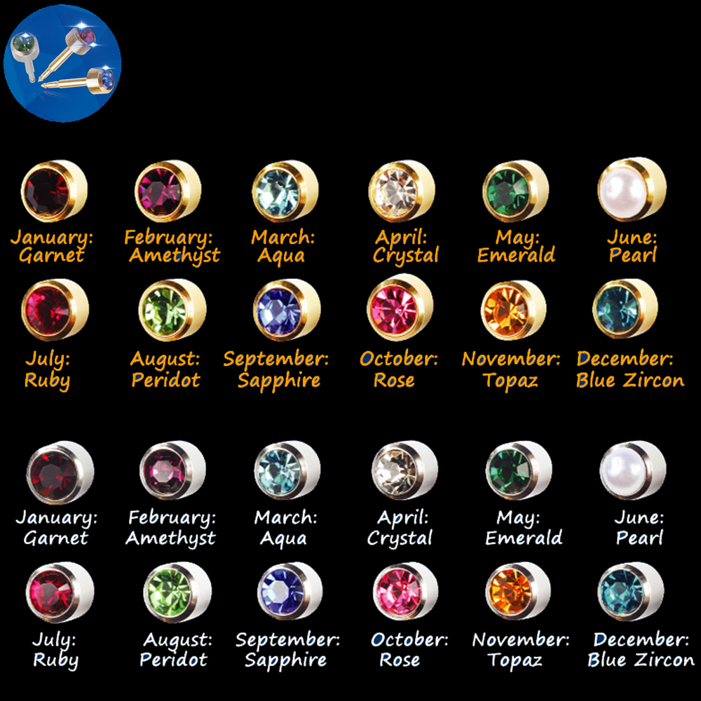 Showlove-12 Pairs 316L Surgical Steel Mixed Gem Piercing Studex Ear Studs Earrings Used  ...