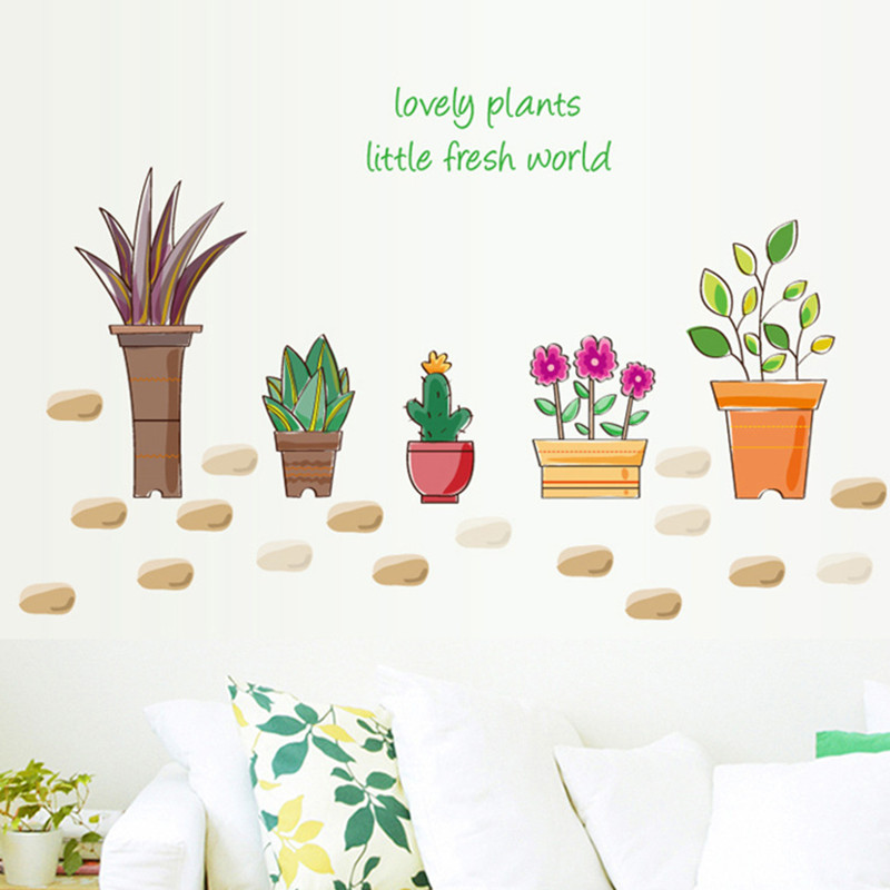 Simulation flower pot stone garden decoration wall sticker home flower pot cactus succulent DIY potted cabinet waterproof decal