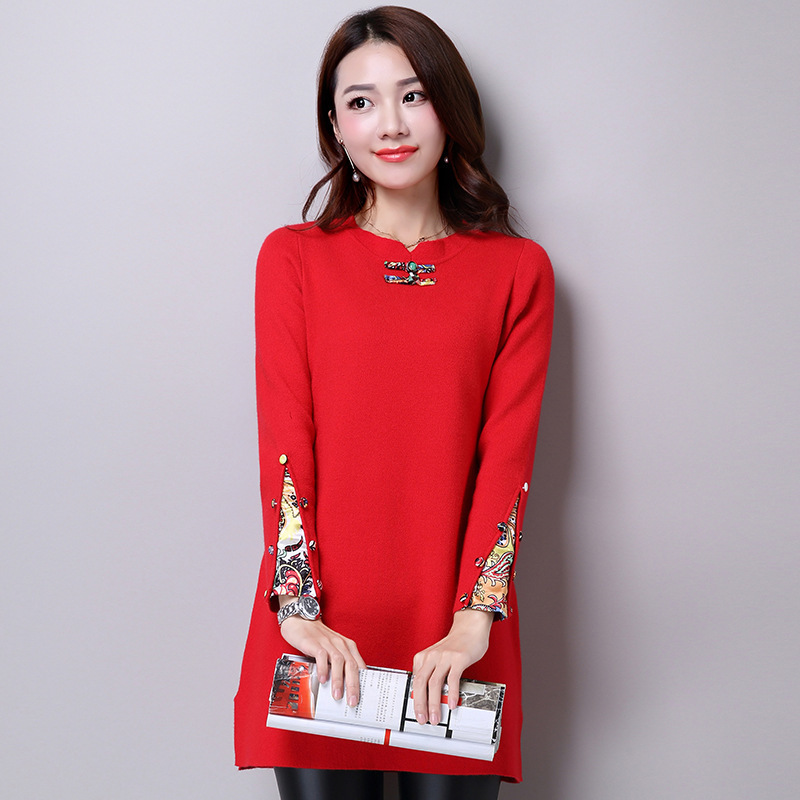 Autumn Winter Cashmere Sweater Women Ethnic style O-Neck Knitted Pullover Sweater Female Fashion High Qaultiy Plus Size E115