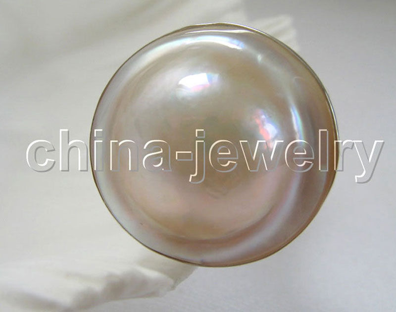 silver ring - AAA 22mm natural white sea water blister mabe pearl ring