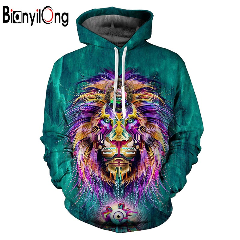 Miss.GO Hot Sale Men/Women Hooded Hoodies 3d Print Green Digigtal Lion King Unisex 3d Sw ...