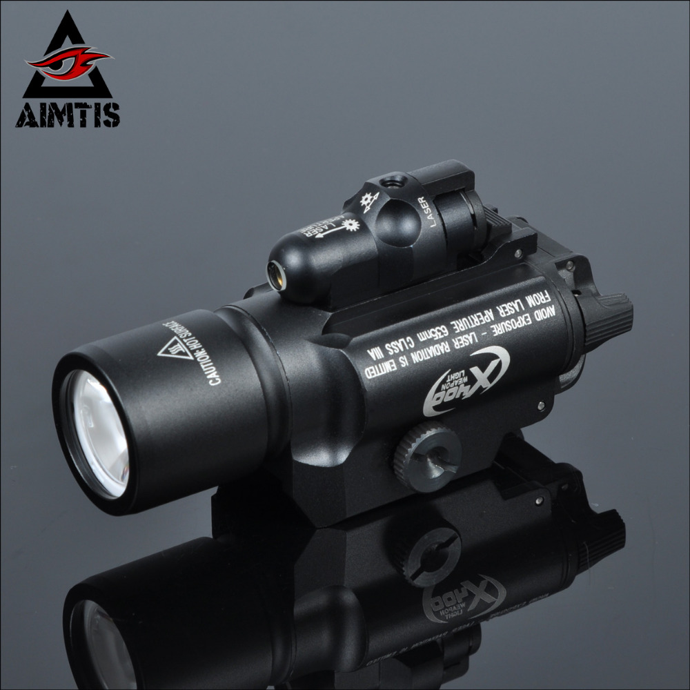 AIMTIS Tac X400 Laser Light Combo Led Weapon Gun Red Laser Flashlight Tactical Handgun Scout Light Rail Mounted for Hunting tgpul tactical x400 gun light led flashlight for pistol handgun laser combo light hunting scout torch for weaver picatinny rail