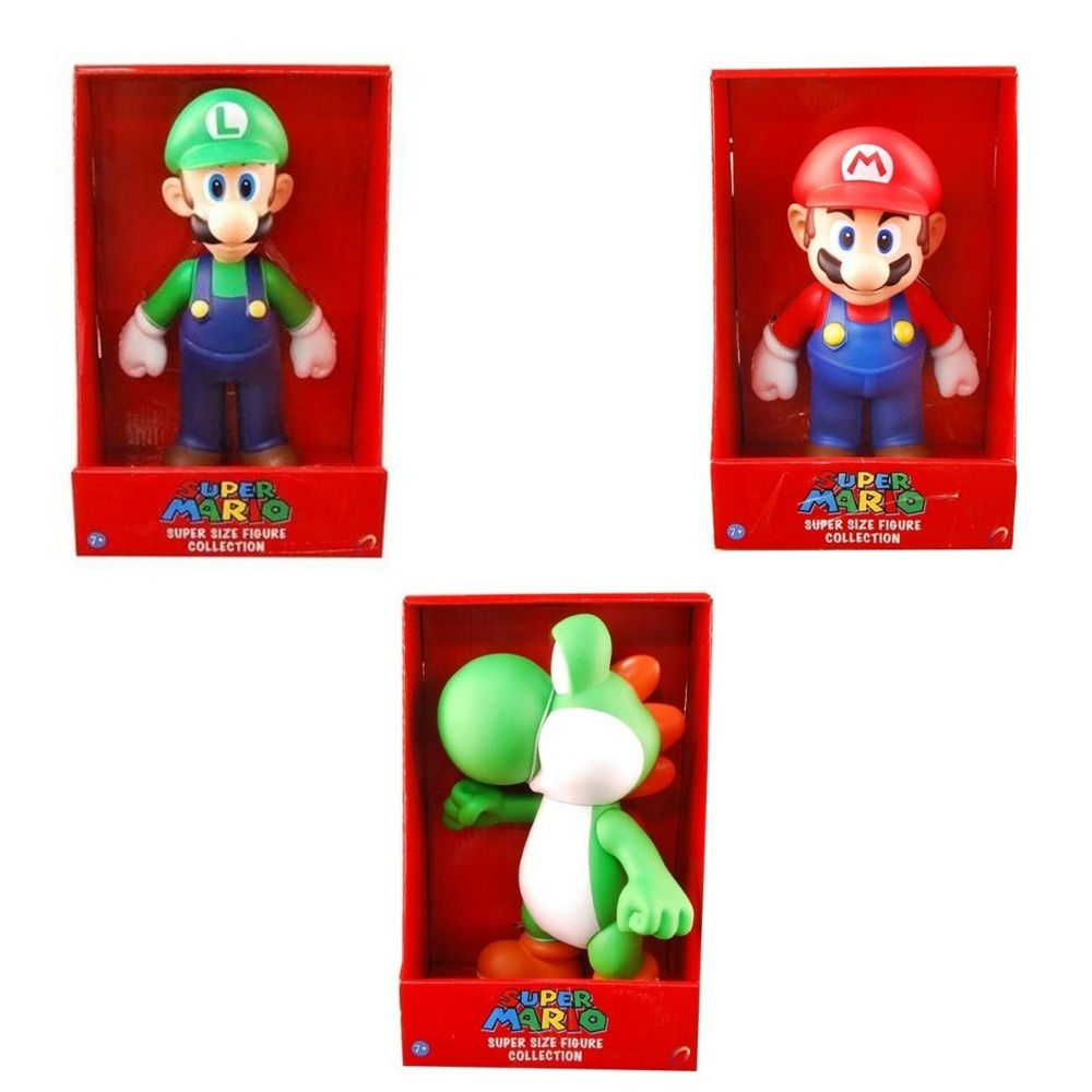 3pcs Set Super Mario Bros MARIO LUIGI YOSHI Collection 9 Toy Figure New in Box Gift Free Shipping super mario bros yoshi plush doll toy with tag soft yoshi doll kid s gift 28cm