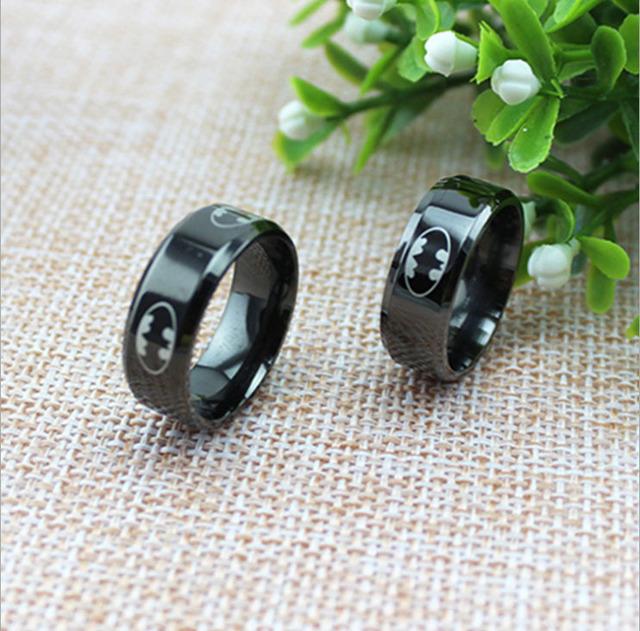 Black Batman Symbol Titanium Stainless Steel Rings For Men Women