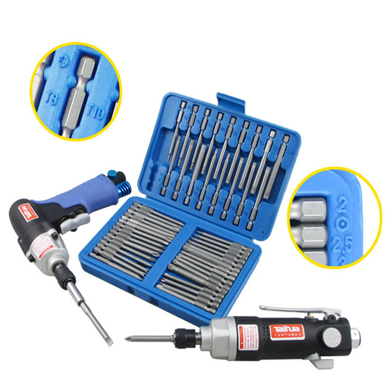 Tools : 50 Piece Extra Long Bit Set Torx Star Hex Pozi Phillips Slotted Screwdriver Hand Tool Set S2 with Strong Magnetic 75mm Length