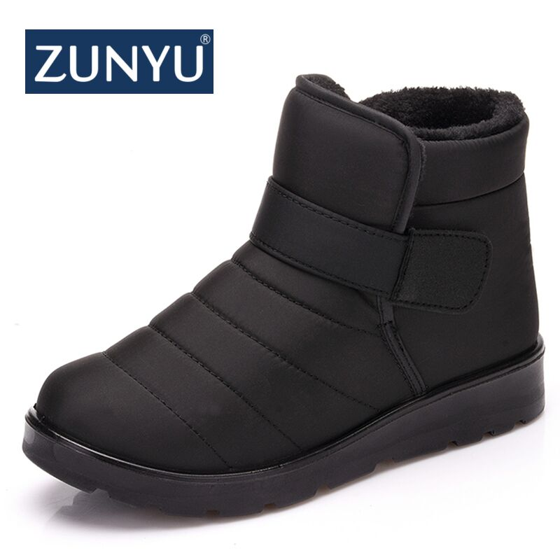ZUNYU New Fashion Men Boots High Quality Waterproof Ankle Snow Boots Shoes Warm Fur Plush Hook