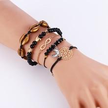 L&H 5PCS/Set Women Exquisite Black Beads Bracelets Kawaii Moon Bracelet For Girls Fashion Female Charming Shell Bangles