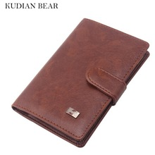 KUDIAN BEAR PU Leather Passport Cover Men Travel Wallet Credit Card Holder Cover Russian Wallet Document