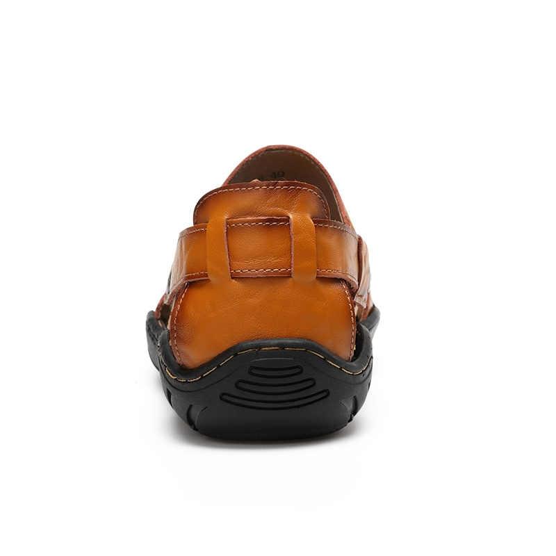 VANCAT erkek sandalet deri plaj sandaletleri marka erkek rahat ayakkabılar hakiki bölünmüş deri sneakers erkek terlikleri yaz erkek ayakkabıları