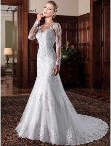 Image 1 - Illusion Vintage Mermaid Wedding Dress vestidos de novia 2020 Embroidery Appliques White Wedding Dresses robe de mariee W0023