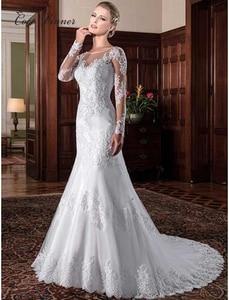 Image 1 - Vestido de novia de sirena ilusión Vintage, 2020, apliques bordados, blanco, W0023