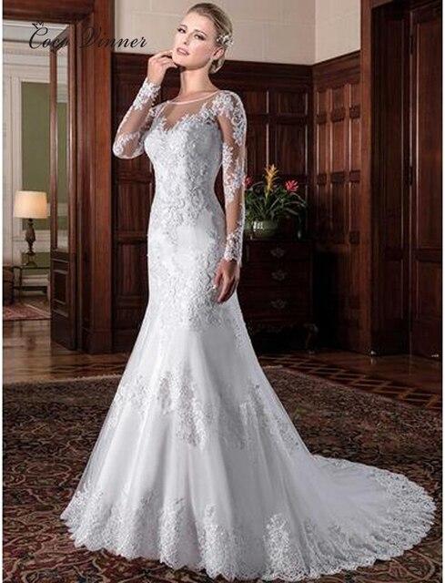 Vestido de novia de sirena ilusión Vintage, 2020, apliques bordados, blanco, W0023
