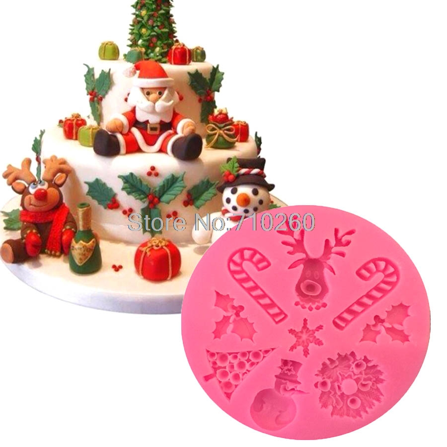 m158 christmas series fondant silicone molds for cake decorating stampi in silicone bakeware sugarcraft chocolate soap mould