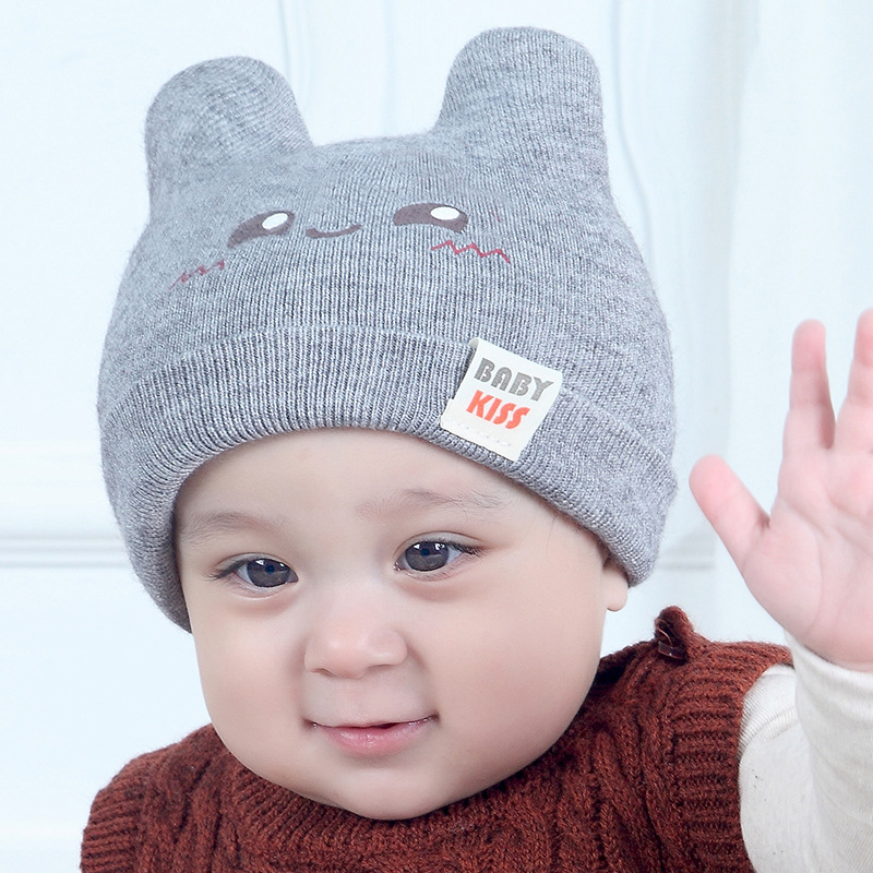 New Baby Hats Autumn And Winter Knitted Caps Korean Cartoons Pattern