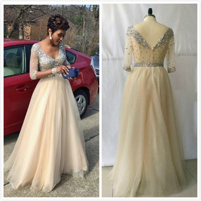 Champagne Evening Dresses a Line