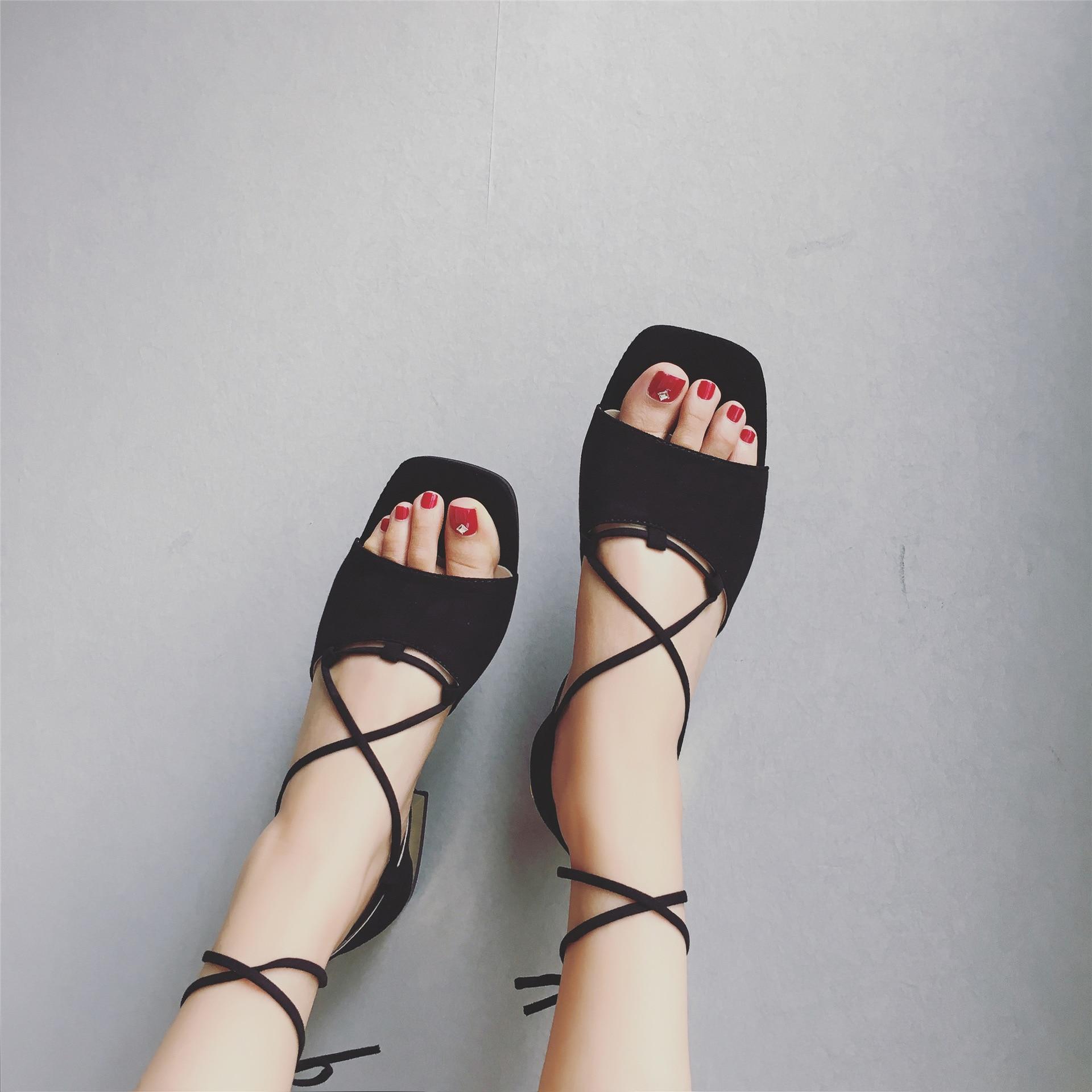Mujer Sandalia Zapatos Negro Open Tobillo La Grueso Bajos Moda Mujeres Toe Gladiador Femeninas caqui Correa 2017 Tacones Inferior Verano Sandalias De FPqTI6wU