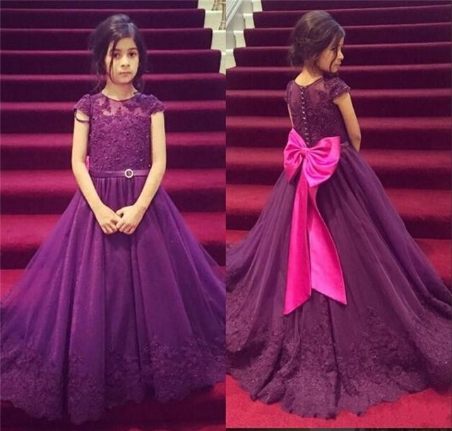 92ba7797a WF3014 Romantic Lace Cap Sleeves Tulle Flower Girl Dresses Little Girl Dress  With Bow Long Ball Gown Kid Communion Pagent Dress