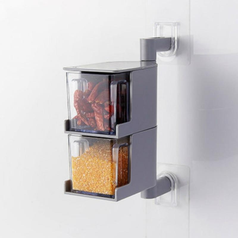 Два приправы коробка прозрачной spice горшок 360 вращающиеся стены соус контейнер ...