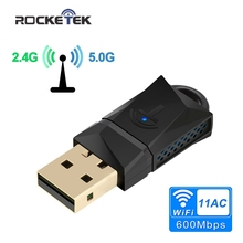 Rocketek 600Mbps Dual Band Wireless USB WiFi adapter RTL8188CU Wi Fi Ethernet Receiver Dongle 2.4G 5GHZ for Pc Windows Wi Fi