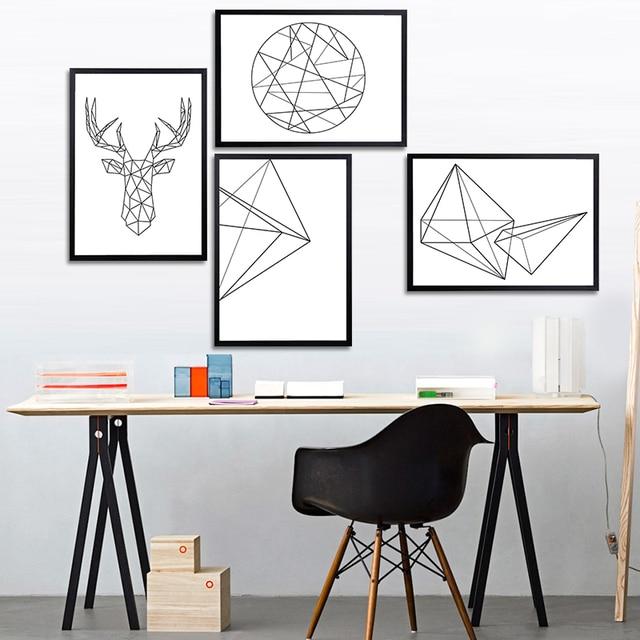 Kunstdrucke Modern moderne nordic minimalistische schwarz weiß geometrische form a4