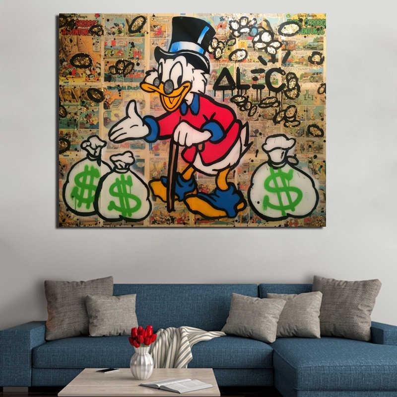 Alec Monopolio Scrooge Mcduck della Tela di Canapa Pittura Stampe Living Room Della Decorazione Della Casa Moderna di Arte Della Parete della Pittura A Olio Poster Immagini