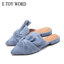 купить E TOY WORD Low heels pointed toe women shoes mules Flock  Bowtie Women Flats Elegant Fashion Slip on Ladies shoes Plus Size  41 по цене 1055.28 рублей