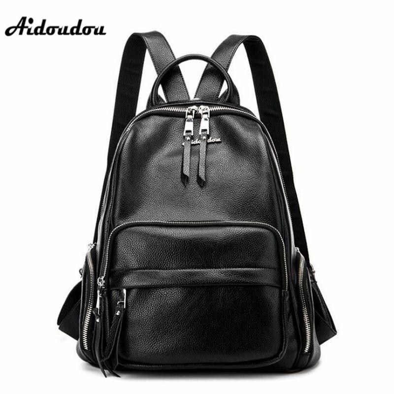 AIDOUDOU Women Backpack High Quality Split Leather Backpacks School Bags For Teenagers Girls Fashion Luxury Designer