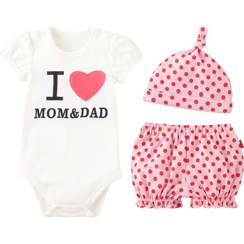 3PCS Baby Girls Clothes Summer Cotton Baby Girl Clothing Set Newborn Baby Clothes Roupas Bebe Letter Shorts Infant Jumpsuits
