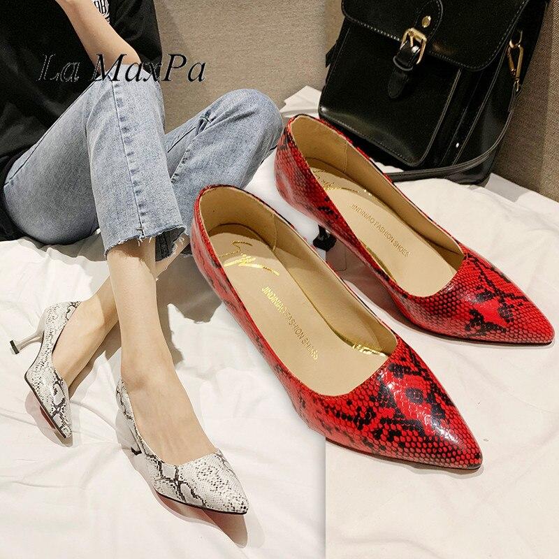 La MaxPa 2019 Spring Autumn New Fashion Snake Printing Women High Thin Heels Stiletto Shoes 7cm Sexy Pumps Party Wedding Shoes