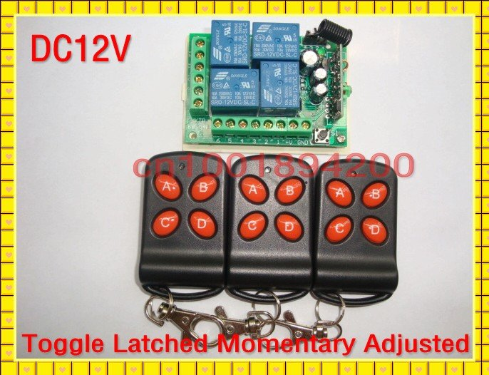 4 Relay CH DC12V Wireless Receiver&Transmitter 2CH Momentary 2CH Toggle RF Remote Control Switch System Access system ON OFF new dc12v 4 relay ch momentary toggle latched rf remote control switch system wireless receiver