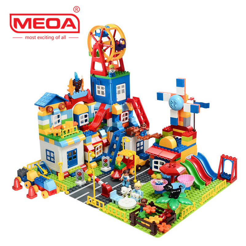 Super Big Amusement Park Building Set Blocks Bricks For Children Toys Duplo Brick Educational Block Compatible With For Legoes forest park plant tree leaf model big particles building blocks toys set bricks diy accessory child gift compatible with duplo
