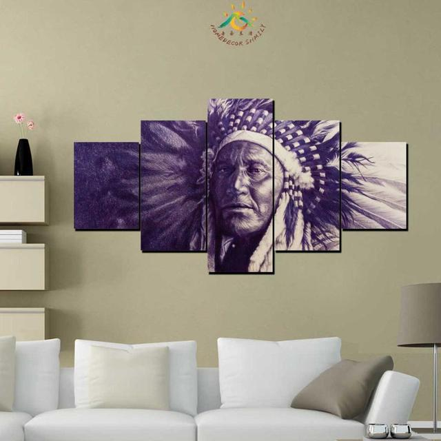 3-4-5 Pieces Native Indian American Wall Art Canvas Painting Art Print Picture Frame Modern Pictures for Living Room