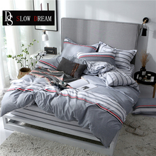 SLOWDREAM Striped Bedding Set Bed Fitted Sheet Rubber Bed Rubber Linen Nordic Duvet Cover Set Double Bedspread Single Twin Bed