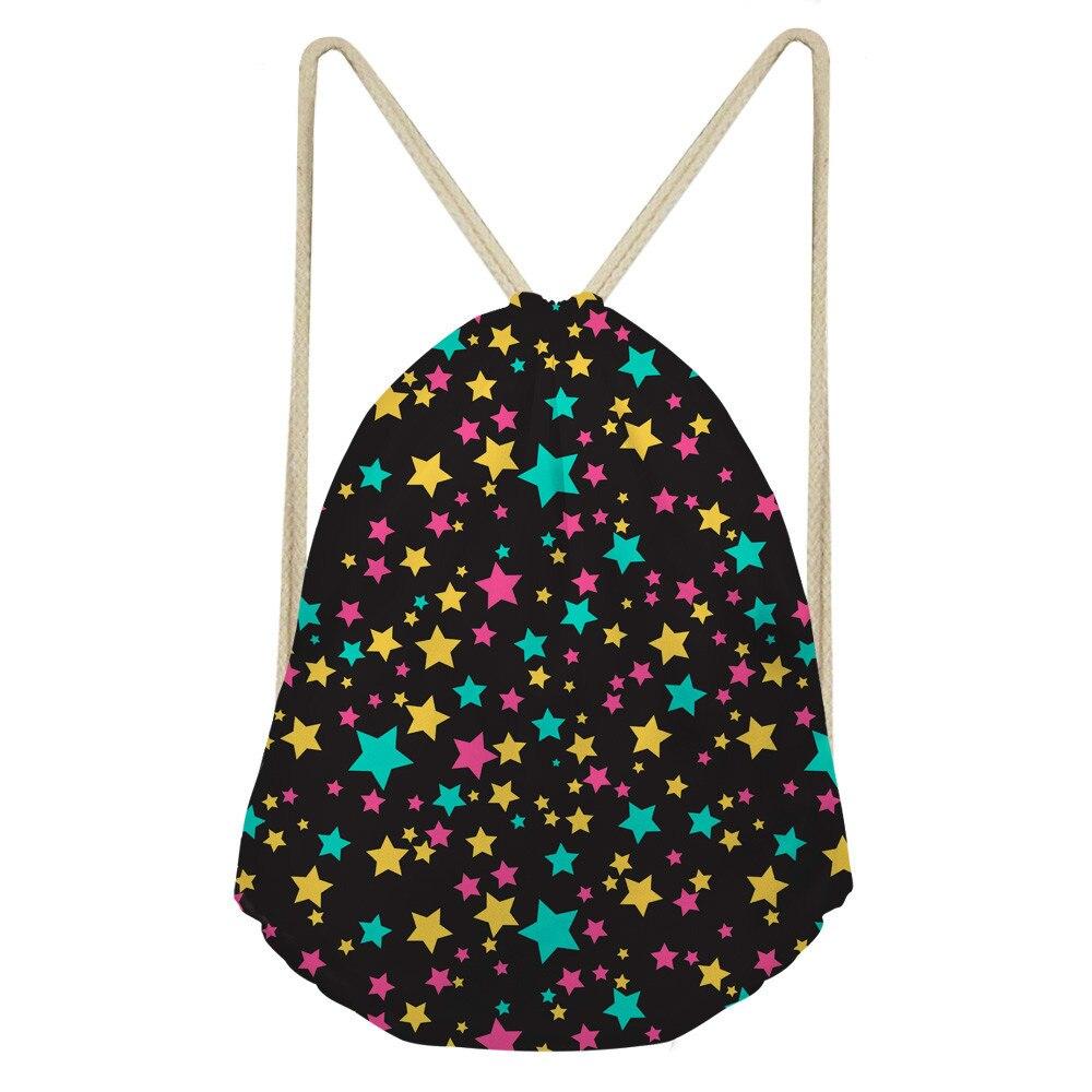 ThiKin Little Stars Pattern Women's Home Polyester Makeup Movement Polyester Beam Pocket Drawstring Bag Storage Backpack