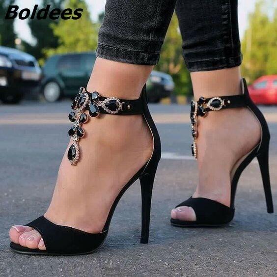Фотография Gorgeous Black Suede Peep Toe Thin High Heels Chic Women Ankle-wrap Crystal Dress Shoes Sexy Nightclub Stiletto Heel Sandals