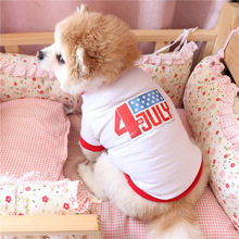 1f1d8f1520 Cute Dog T-Shirt White 1pc America Independence Day Style White Dog T-shirt  Pet Outfit Dog T-shirt Printed Pet Clothes Best Gift