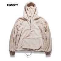 Tsingyi Fleece Half Zipper Pullover Hooded Kanye West Sherpa Hoodies Streetwear Urban Bieber Sweat Homme Men Hoodie Sweatshirt