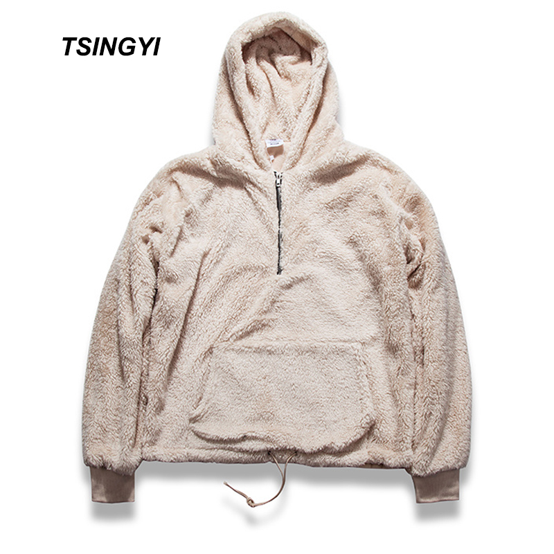 Tsingyi Fleece Half Zipper Pullover Hooded Kanye West Sherpa Hoodies Streetwear Urban Bieber Sweat Homme Men Hoodie Sweatshirt