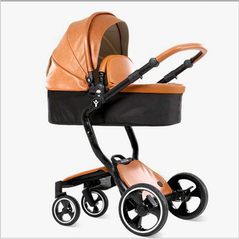 2 in 1 baby stroller leather  foofoo baby luxury fashion for the 4 runner baby carriage pram white black frame newborn baby car 1