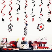 Casino Theme Party Decorations Hanging Swirl 9pc/set Playing Card Poker Symbols Hall Backdrop Decor