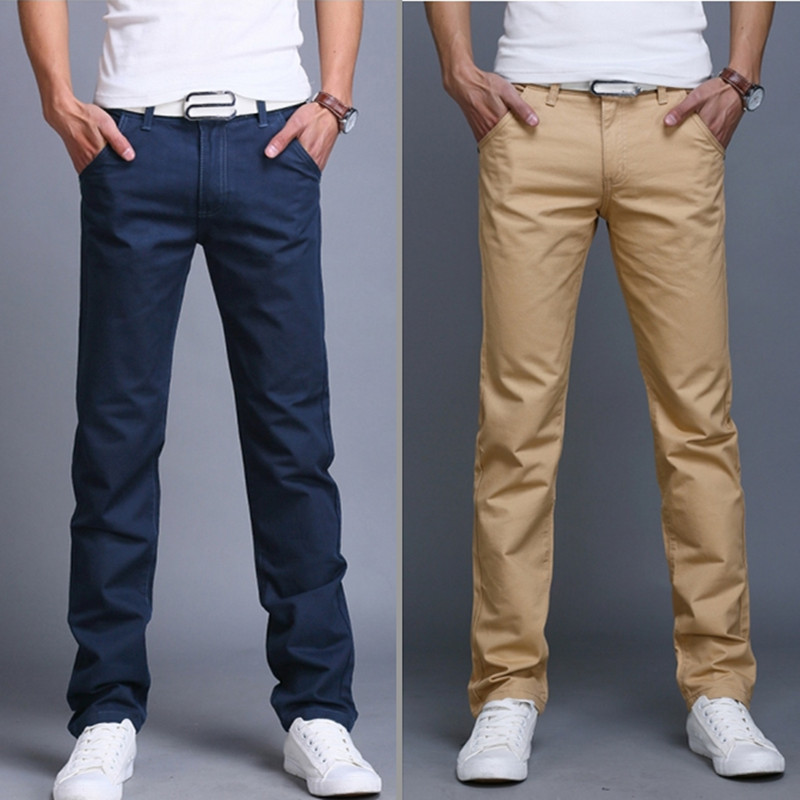 Left ROM 2017 New High Quality Pure Cotton Thin Men's Pure Color Straight Casual Pants Men Slim Business Leisure Pants Trousers