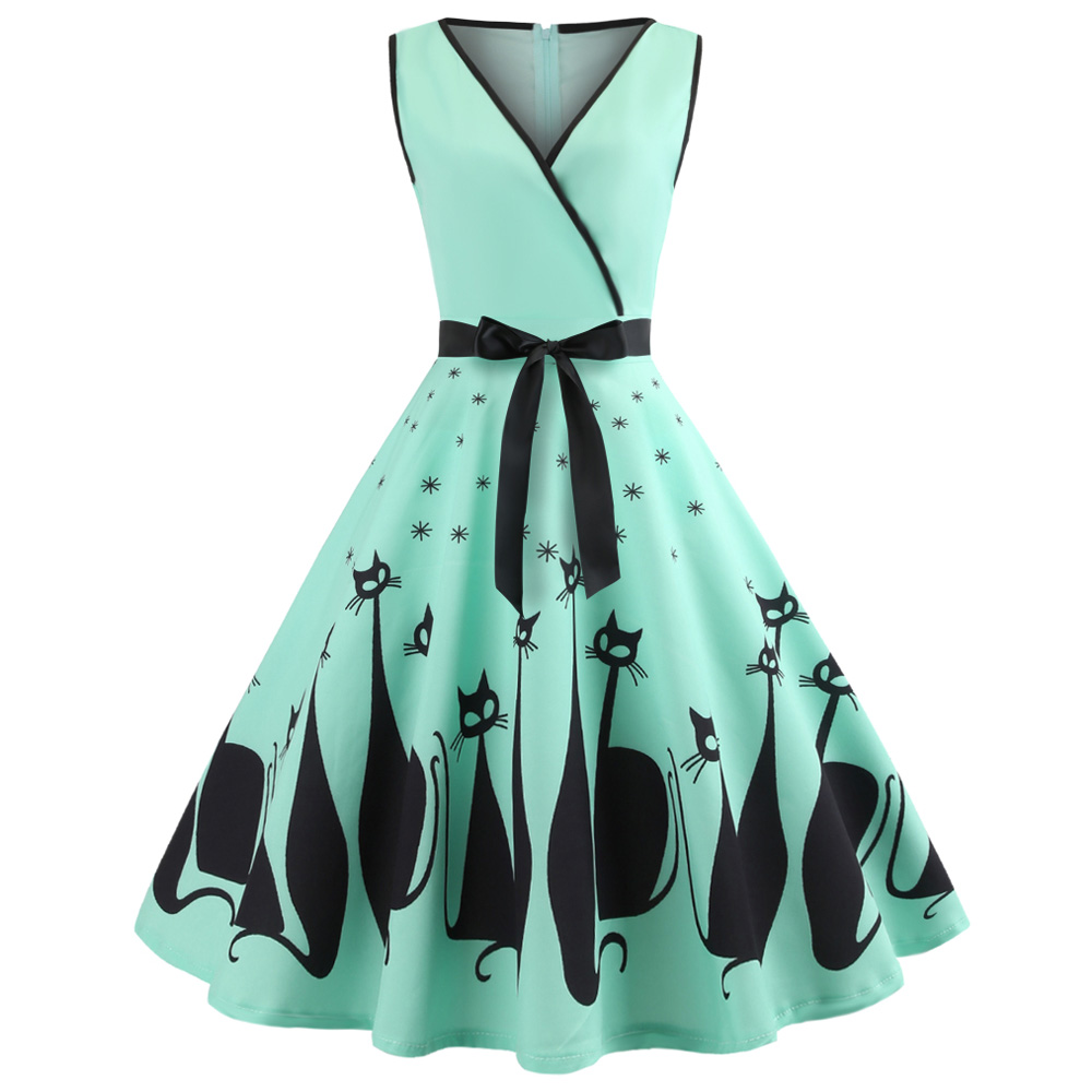 2c1baf609a5 Kenancy Women Hepburn Vintage Series Dress V-Neck Halloween Cat Printing Design  Sleeveless Belt Corset