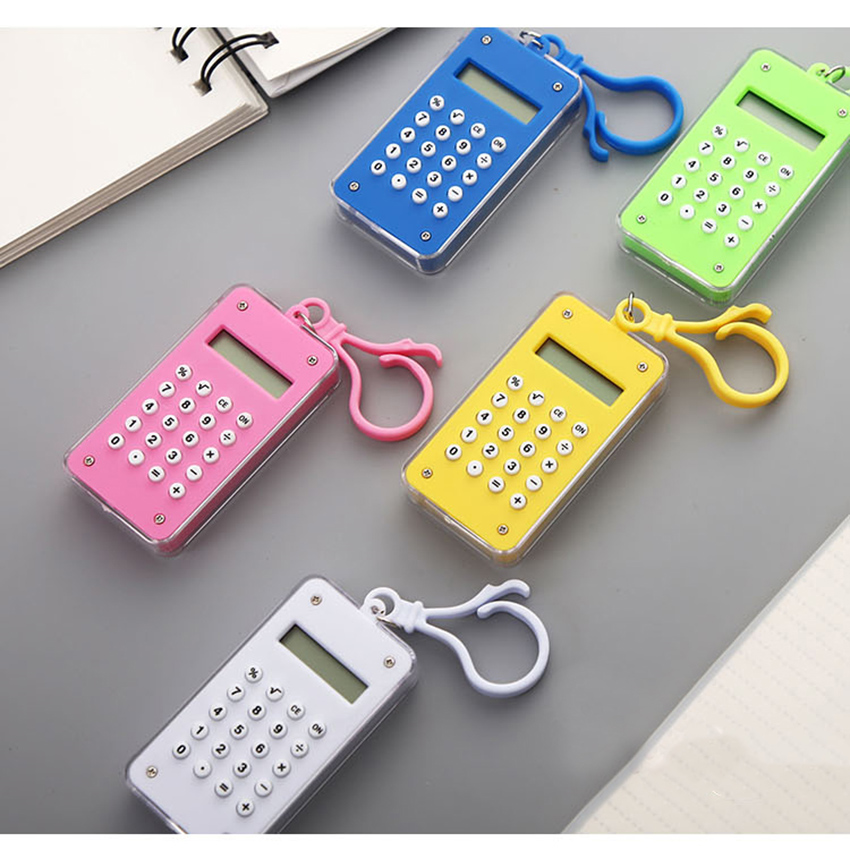 Candy Color Mini Standard Function Calculator 8-digit Display with Hanging Buckle & Maze Diagram Student Electronic Calculator