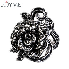 Charms Bijoux Antique Silver Color Vintage Ring Black Crystal Big Rose Flower Rings For Women Wedding Birthday Party Mother Gift