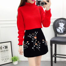 A Fashion Women Clothing Set New Winter Turtleneck Pullovers Sweater Casual Top Flower Embroidery Bust Skirt Knit Suits S M L