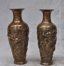"""S2939 8 """"Marcado de Bronce Chino de cobre Emperador Dragón Phoenix pájaro de La Flor Florero Botella"""