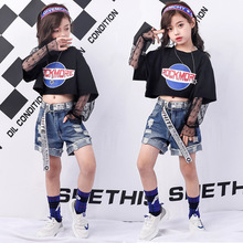 Girls Summer Boutique Clothing Kids Black Lace Sleeve Crop Top T Shirts And Ripped Denim Shorts Set For Teen Girls недорого