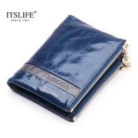 wallet women genuine leather wallet holder bestselling new short wallet women's double zipper coin purse candy color wallet