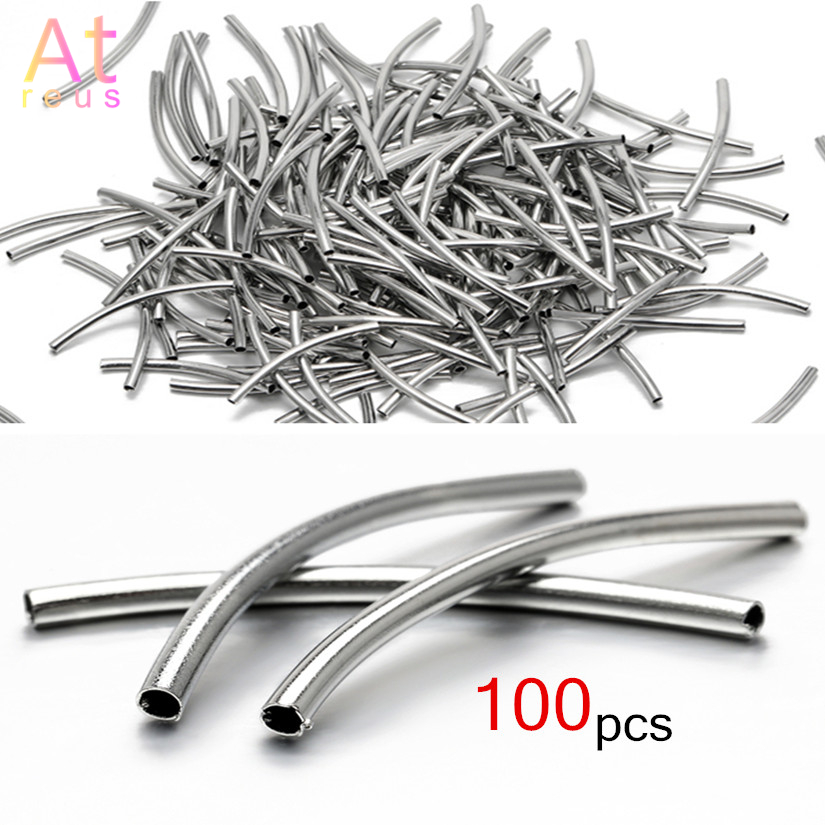 100pcs 2X30mm Silver Color Curved Tube Spacer Beads Connector Diy Jewelry Findings For Bracelet Necklace Making Accessories