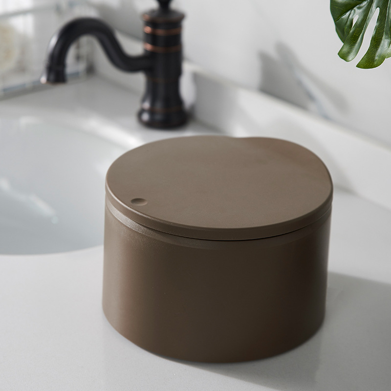 Anese Desktop Trash Can Pressing Type Small Waste Bins With Cover Mini Cute Creative Countertop Plastic Storage Bucket In From Home Garden